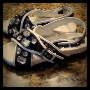 Topshop Jeweled Chunky Sandal Size 40